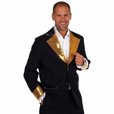 Zwart /goud glitter colbert heren carnavalskleding Den Bosch