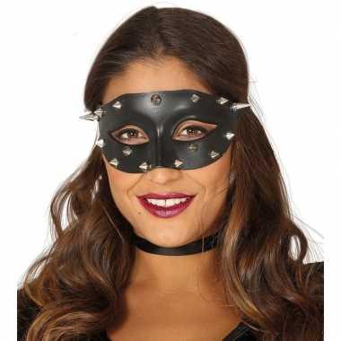 Zwart mysterieus oogmasker spikes dames carnavalskleding den bosch