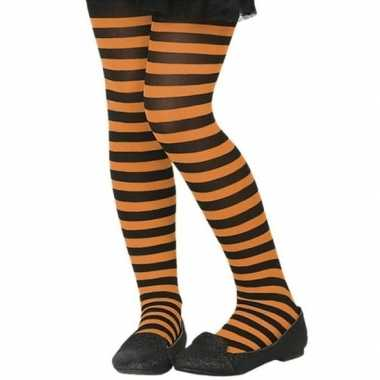 Zwart/oranje denier verkleed panty kinderen carnavalskleding bosch