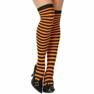 Zwart oranje verkleed kousen dames carnavalskleding den bosch