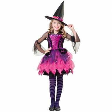 Zwart/paars/roze heksen jurk meisjes carnavalskleding den bosch