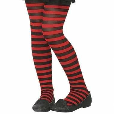 Zwart/rode denier panty kinderen carnavalskleding bosch
