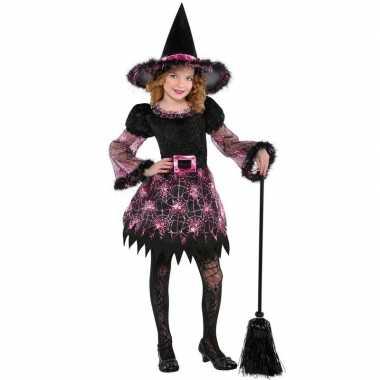 Zwart/roze heksen jurk meisjes carnavalskleding den bosch