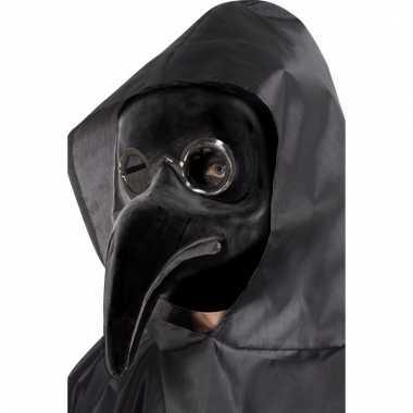 Zwart venetiaans plaagdokter masker volwassenen carnavalskleding den