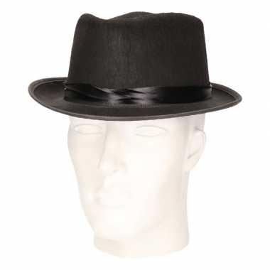 Zwart verkleed hoedje blues model volwassenen carnavalskleding den bo