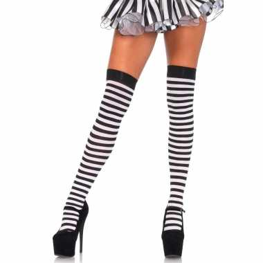 Zwart/wit gestreepte kniekousen dames carnavalskleding den bosch