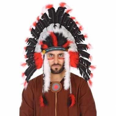 Zwart/witte indianen tooi heren carnavalskleding den bosch