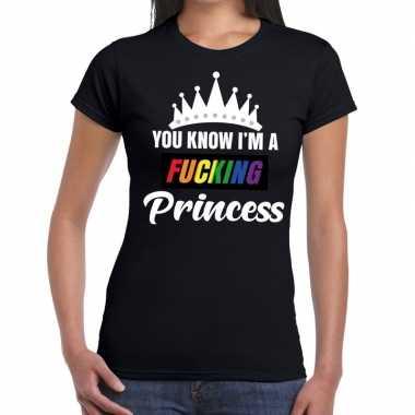 Zwart you know i am a fucking princess t shirt dames carnavalskleding