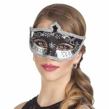 Zwart/zilver mysterieus oogmasker dames carnavalskleding den bosch