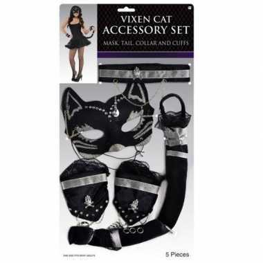 Zwart zilver stoeipoes/katten verkleedsetje carnavalskleding den bosc