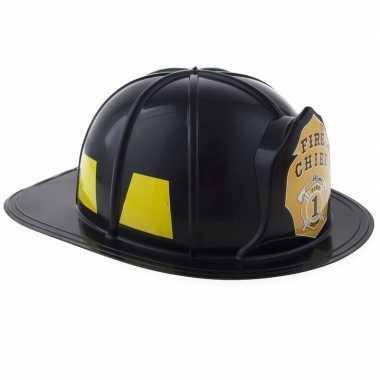 Zwarte brandweerhelm volwassenen carnavalskleding den bosch