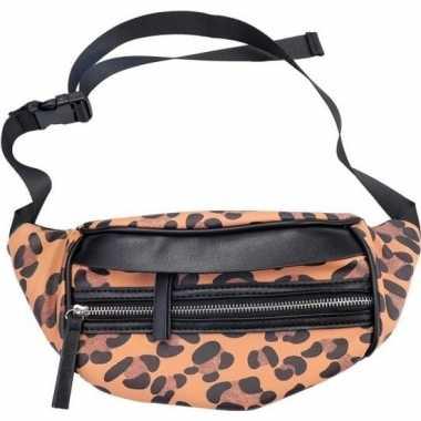 Zwarte/bruine luipaardprint heuptas/fanny pack/cross body tas nel tij