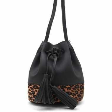 Zwarte/bruine luipaardprint schoudertas/cross body tas/bucket bag nel