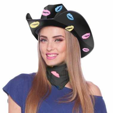 Zwarte cowboyhoed karton lippen/kusjes dames carnavalskleding den bos