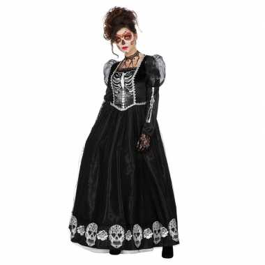 Zwarte day of the dead halloween jurk dames carnavalskleding den bosc