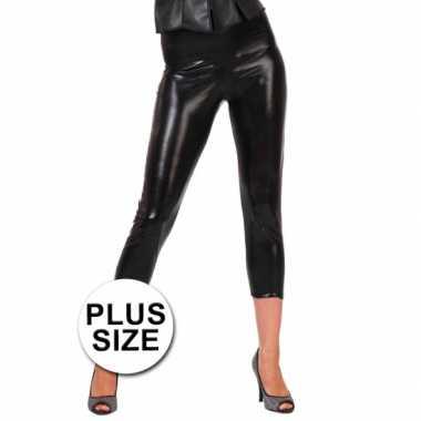 Carnavalskleding zwarte glimmende grote maat legging