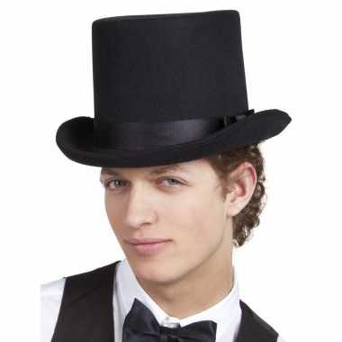 Zwarte hoge hoed zware kwaliteit heren carnavalskleding den bosch