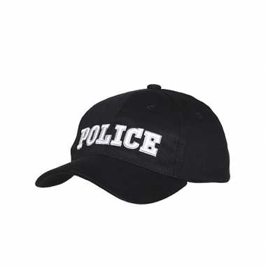 Zwarte katoenen pet Police carnavalskleding Den Bosch