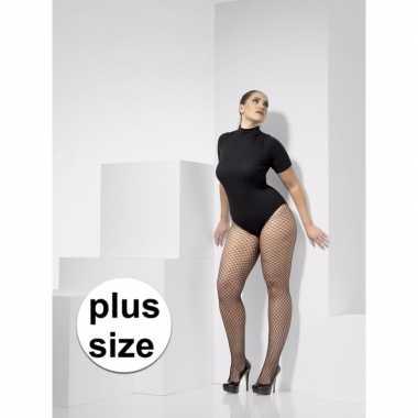 Carnavalskleding zwarte net panty plus size