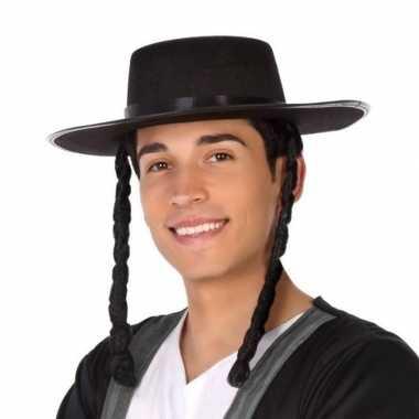 Zwarte orthodoxe joden verkleed hoed heren carnavalskleding bosch