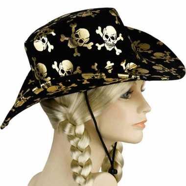 Zwarte piraten cowboyhoeden carnavalskleding bosch