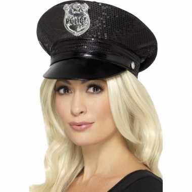 Carnavalskleding Politie Dames.Zwarte Politie Pet Glitters Dames Carnavalskleding Den Bosch