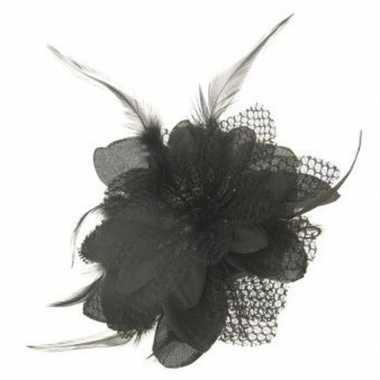 Zwarte roos corsage veren carnavalskleding den bosch