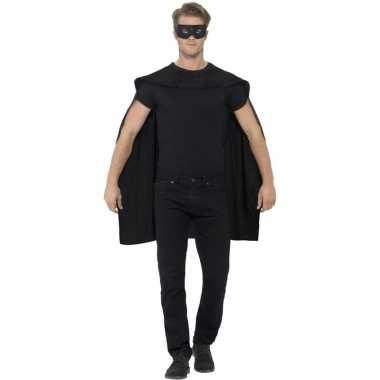 Carnavalskleding zwarte superhelden cape masker