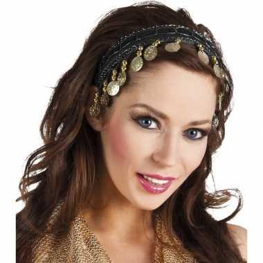 Zwarte verkleed/feest buikdanseressen hoofdband/diadeem dames/volwass