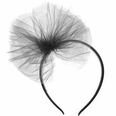 Zwarte verkleed haarband tule strik meisjes carnavalskleding den bosc