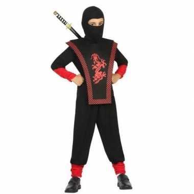 Goedkope ninja verkleedcarnavalskleding zwart/rood jongens den bosch