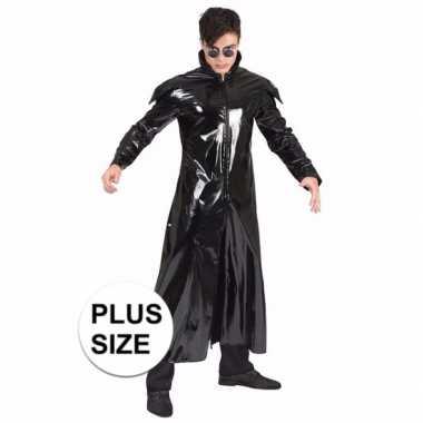Grote maat gothic dracula vampier glimmende mantel carnavalskleding heren