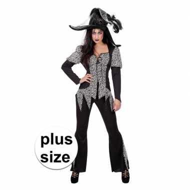 Grote maat zwart/wit halloween gothic carnavalskleding dames den bosc