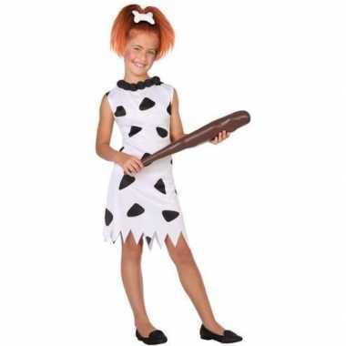 Holbewoonster wilma carnavalskleding meisjes wit/zwart den bosch