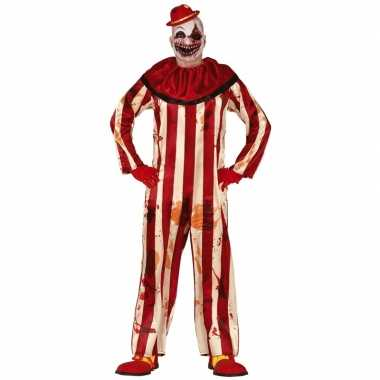 Killer clown halloween verkleed carnavalskleding rood/wit heren den b