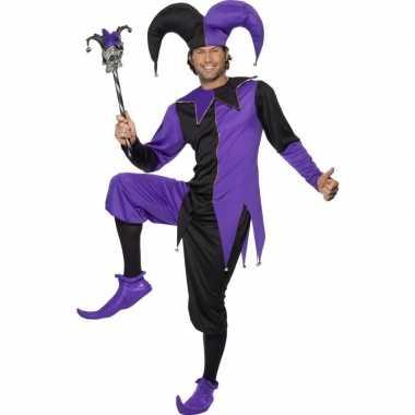 Narren carnavalskleding zwart/paars heren den bosch