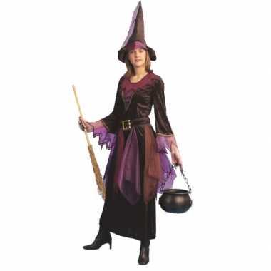 Paars heksen carnavalskleding inclusief hoed den bosch