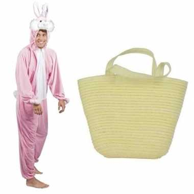 Roze paashazen carnavalskleding mandje mannen/vrouwen den bosch
