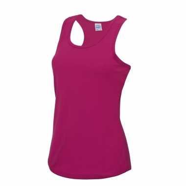Sportcarnavalskleding sneldrogend fuchsia dames hemd