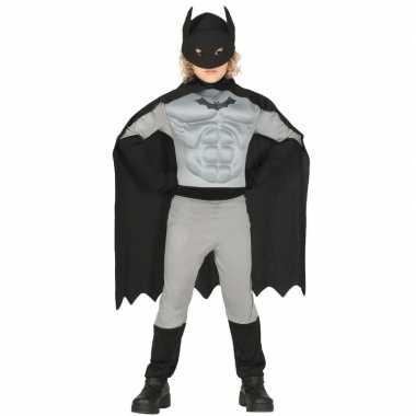Superhelden vleermuis carnavalskleding jongens grijs/zwart bosch