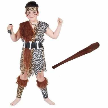 Verkleed holbewoners carnavalskleding knuppeltje kinderen maat l