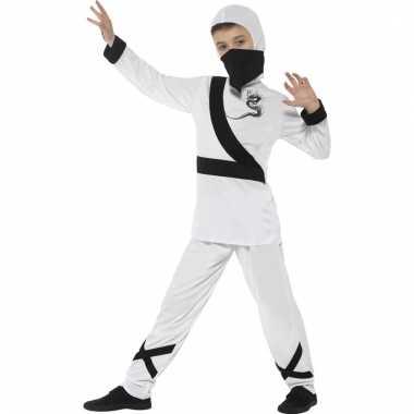 Verkleedcarnavalskleding ninja wit/zwart kinderen den bosch