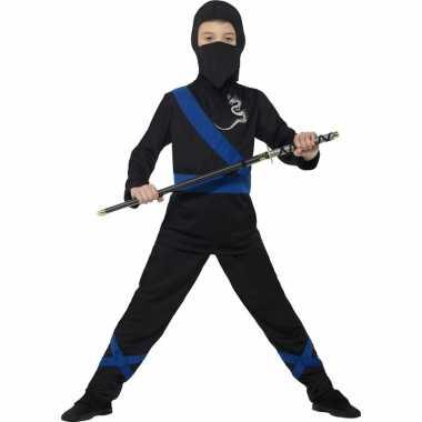 Verkleedcarnavalskleding ninja zwart/blauw kinderen den bosch
