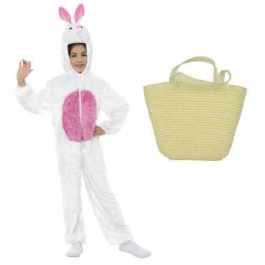 Witte paashazen carnavalskleding maat s mandje kids den bosch
