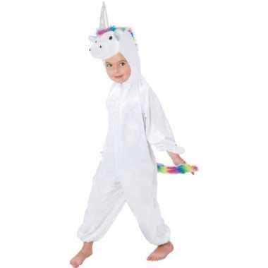 Witte/regenboog eenhoorn rainy onesie/carnavalskleding kinderen den b