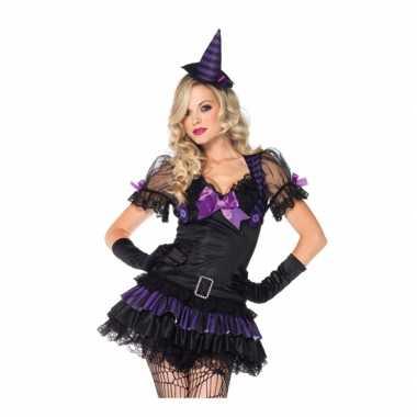 Zwart/paars heksen carnavalskleding dames den bosch