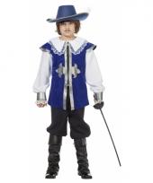 Blauw musketiers carnavalskleding kinderen