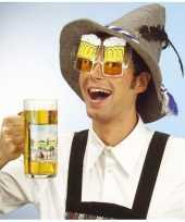 Carnavalskleding bierglazen partybril