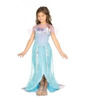 Carnavalskleding blauw zeemeermin prinses jurkje meiden