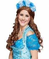 Carnavalskleding blauwe bloemen tiara